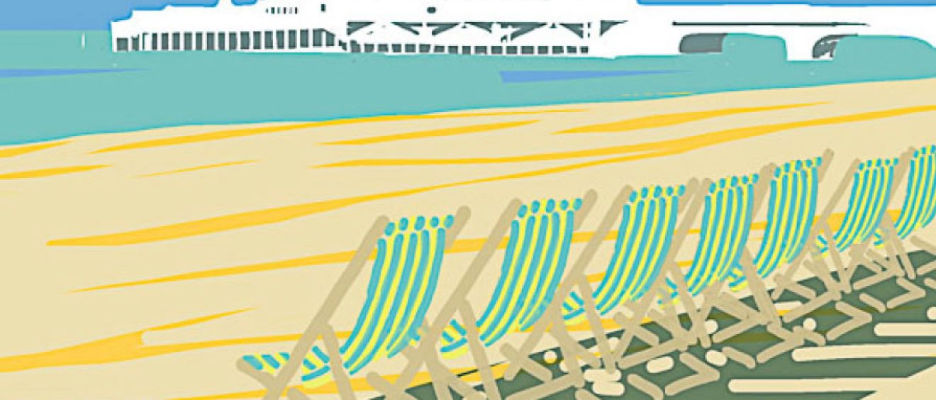 graphic image of white pier in background and green stripey deckchairs in foreground