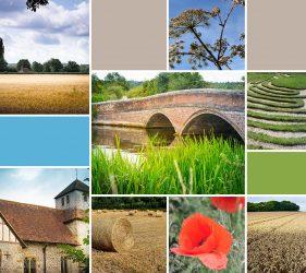 montage of local landscape, bridge, mizmaze and church images