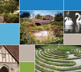 montage of bridge, lane, church mizmaze and swans images