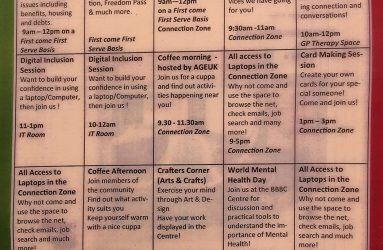 Printed timetable with activities such as advice, digital inclusion and craft corner