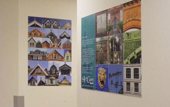 Artworks montage of gable ends in corridor