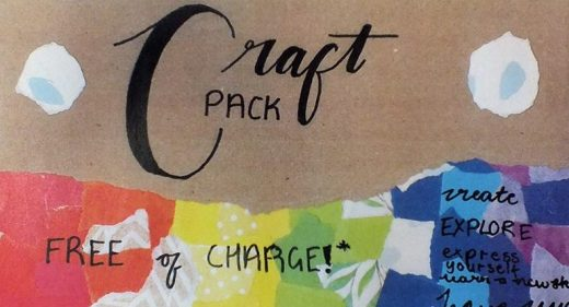 Collaged craft pack cover designed by work experience student