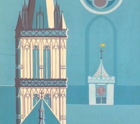 Gothic style panel showing Salisbury Cathedral and Poultry cross with coat of arms in blue tones