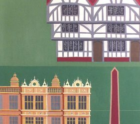 Tudor panels showing timber framed house, stone built facade to Longleat and Mary Rose, green tones