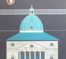 panel showing Palladian style building with dome, with carriage in foreground