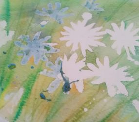 watercolour daisy peeling off masking fluid