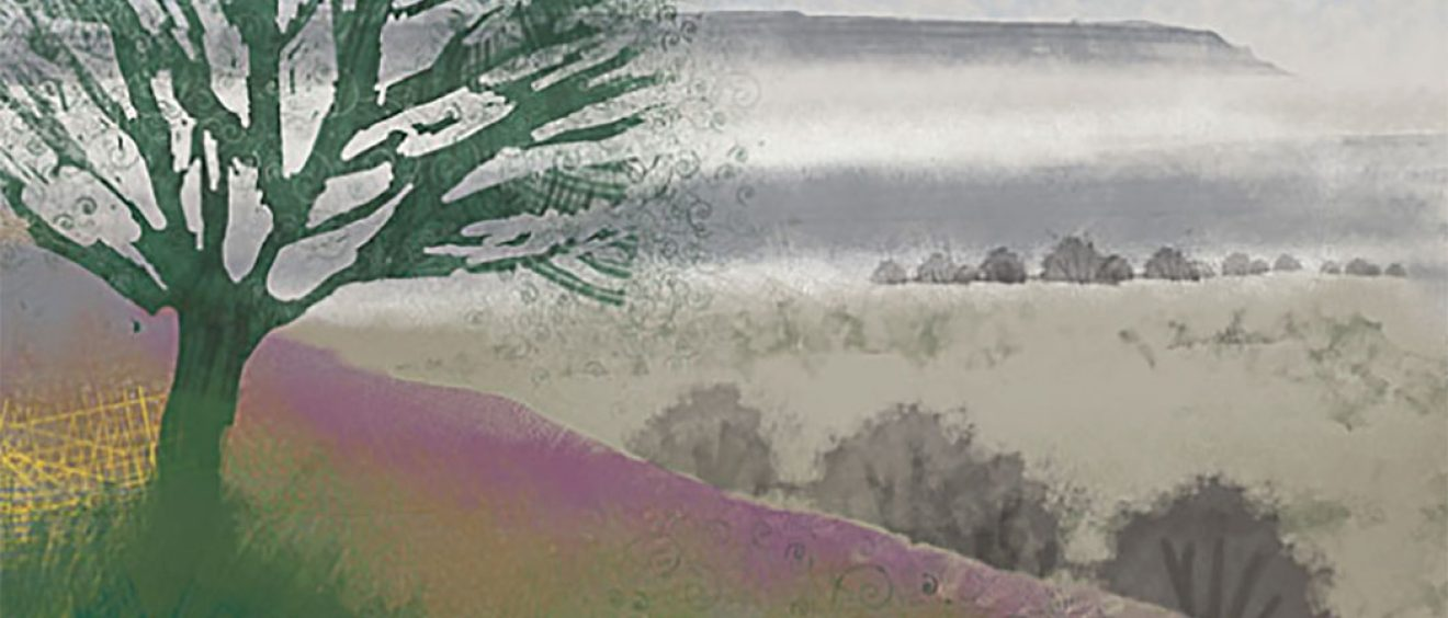 graphic style wintry tree on hillside in fog, purple and misty tones