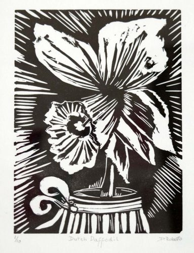 black and white linocut outline of daffodil head in vase