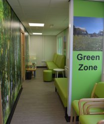 Green coloured seating with forest themed artwork