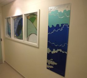 Cloud themed eglomise panel and abstract stained glass panel