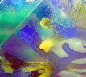 sea weed art glass in blue, greens and gold colours