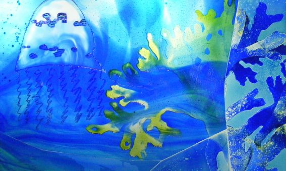 turquoise, blue and green seaweed and jelly fish shapes underwater design on glass