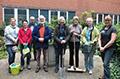 volunteers in courtyard