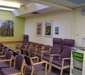 Framed artworks of forest flora and leaves in waiting area, with lilac eating in front