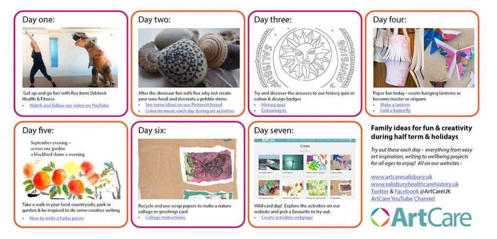 screen shots of various creative activities on website