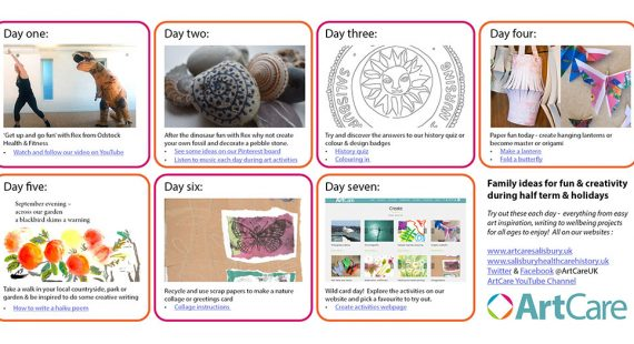 screen shots of various creative activities on website