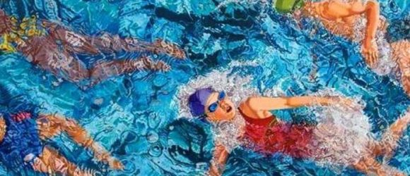 painting of swimmers with goggles and swim hats and bright coloured swim wear viewed from above
