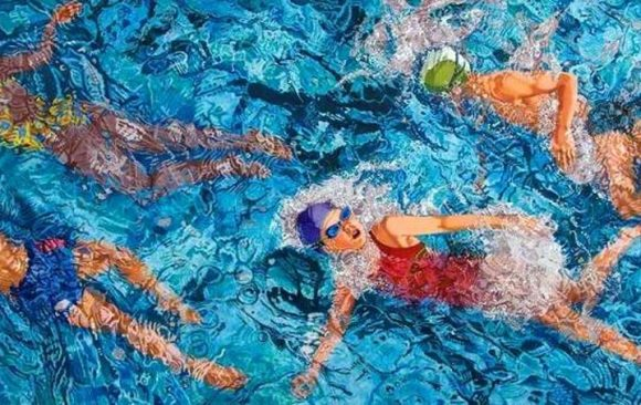 oil painting showing swimmers in brightly coloured hats and costumes with lots of movement in the water of the pool
