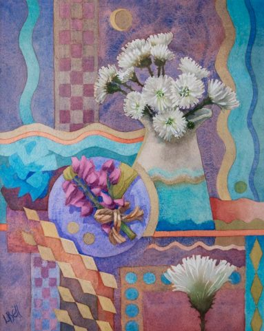 colourful abstract still life of white flowers in vase with wave, diamond and circle patterns