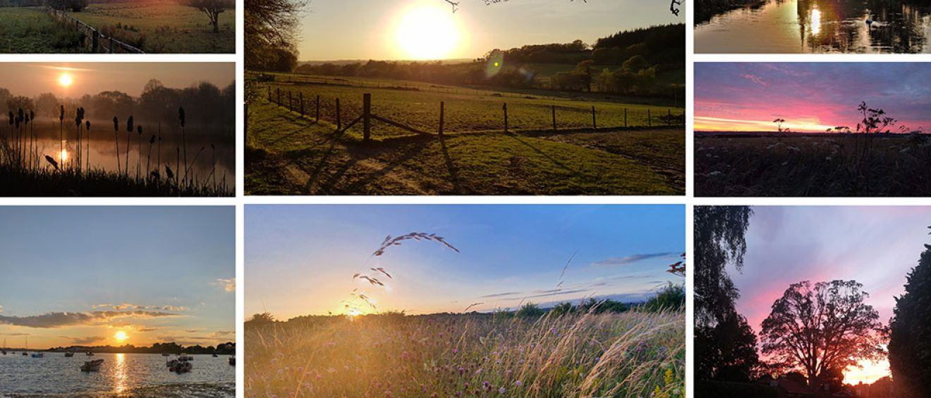 montage of sunset and sunrise images including fields, rivers and coast