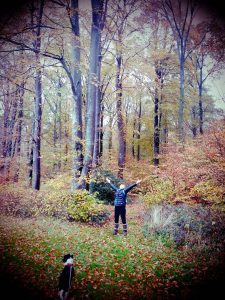woman looking up at autumn trees arms outstretched, dog in foreground