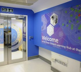 Welcome artwork at entrance to Labs