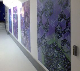 Floor to ceiling corridor artwork abstract liver cell design