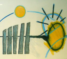 Graphic drawing of sun moving through sky