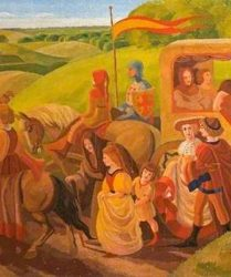 Knights and courtiers with horses and carriage process along path
