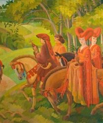 Courtiers on horseback hunting