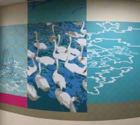 Abstract pattern, swans and water ripple shapes design - wall vinyl continuing into ceiling tiles