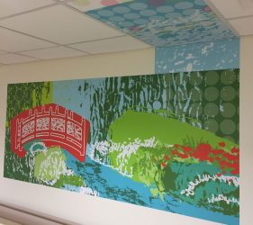 Abstract pattern, red bridge and river bank outline design - wall vinyl continuing into ceiling tiles