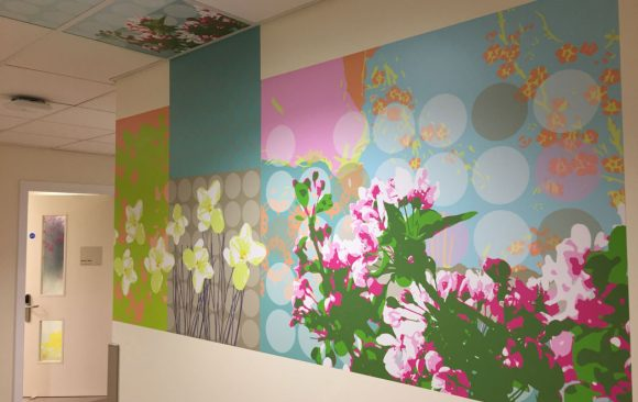 Abstract pattern and flower shapes design - wall vinyl continuing into ceiling tiles