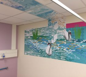 Abstract pattern, swans and water ripple design - wall vinyl continuing into ceiling tiles