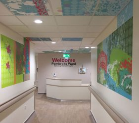 Abstract pattern, river bank, bridge and flower shapes design - wall vinyl continuing into ceiling tiles