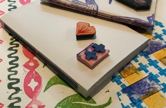 leaf shape and two crosses carved rubber stamps and resulting prints
