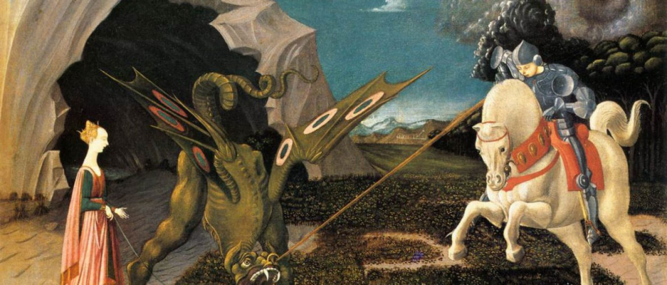 painting depicting St George in armour on horseback slaying dragon