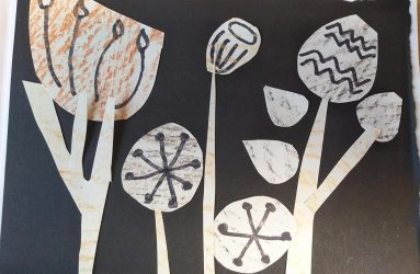 seed head outline shapes cut out and collaged together