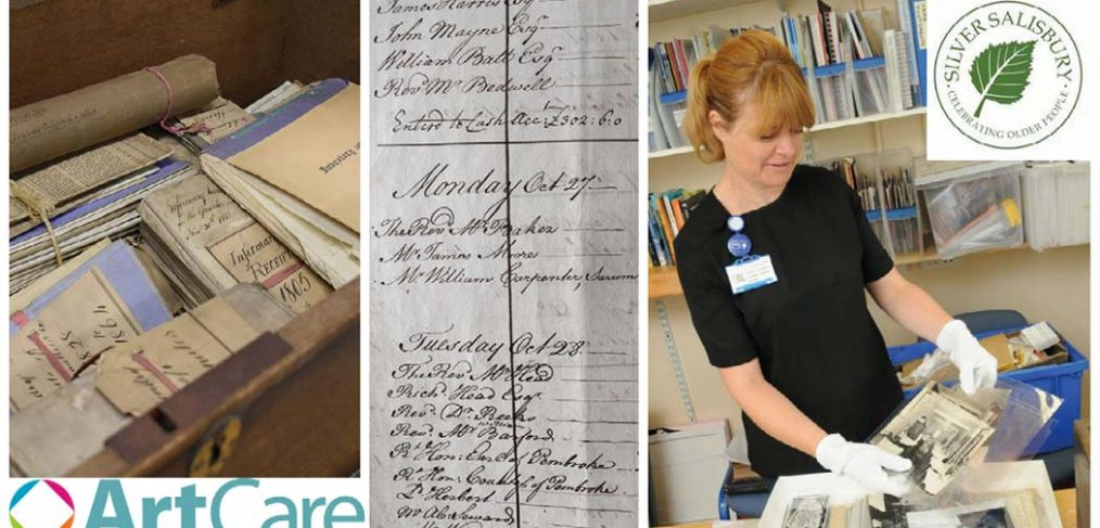 montage of historical documents and Lesley handling old photos