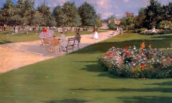 painting of Edwardian woman with pram sitting on park bench, others strolling about, red and white flowers in beds, trees in leaf