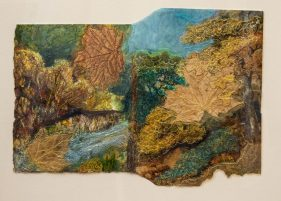 autumn landscape with fabric and stitch in golden browns