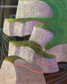 abstract image of grass topped chalk cliffs, simple lines indicate waves