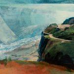 Gill Drew painting of coastline