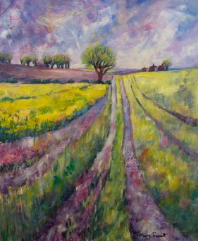 spring field with yellow flowers, trees on horizon and purple toned sky