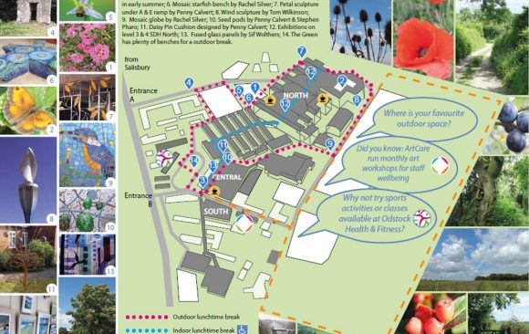 Map showing hospital buildings, routes and images of outdoor spaces